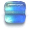 Glass Beads 11mm Square Two Tone Blue/Light Green